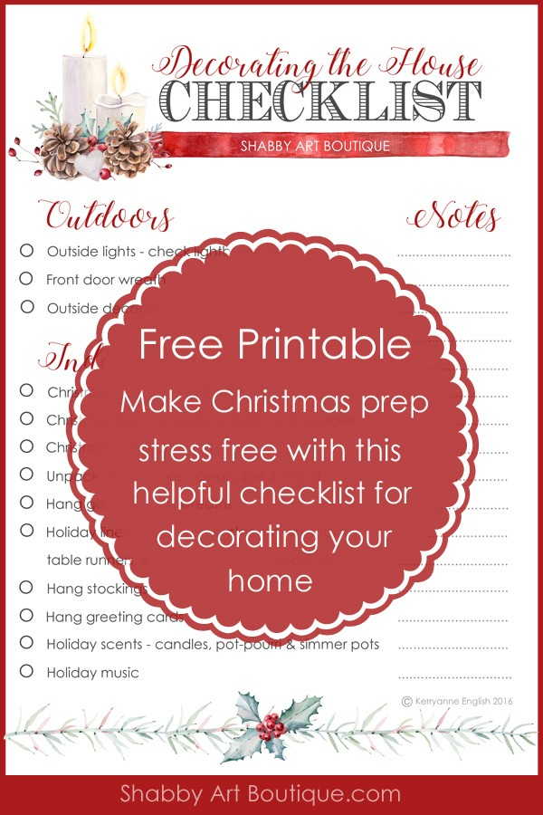 Free printable checklist for Christmas home decorating by Shabby Art Boutique