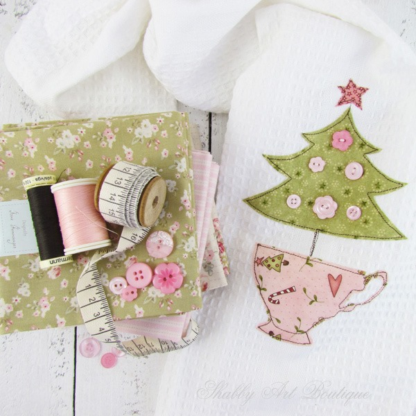 Handmade Christmas tea towel tutorial by Shabby Art Boutique