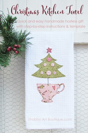 Handmade Shabby Christmas Kitchen Towel by Shabby Art Boutique