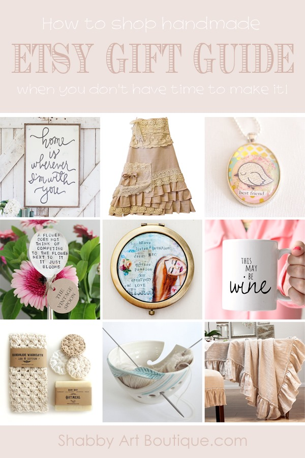 When I don't have time to make all my gifts, I shop handmade on Etsy. Here's a few gorgeous items I spotted while doing my Christmas shopping. Check out my Etsy Gift Guide at Shabby Art Boutique