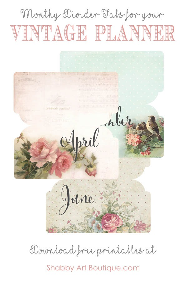 Monthly divider tabs for your vintage planner from Shabby Art Boutique