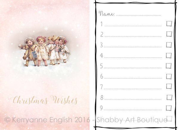 Printable Christmas Wish List and Folder by Shabby Art Boutique. Click to download printable.