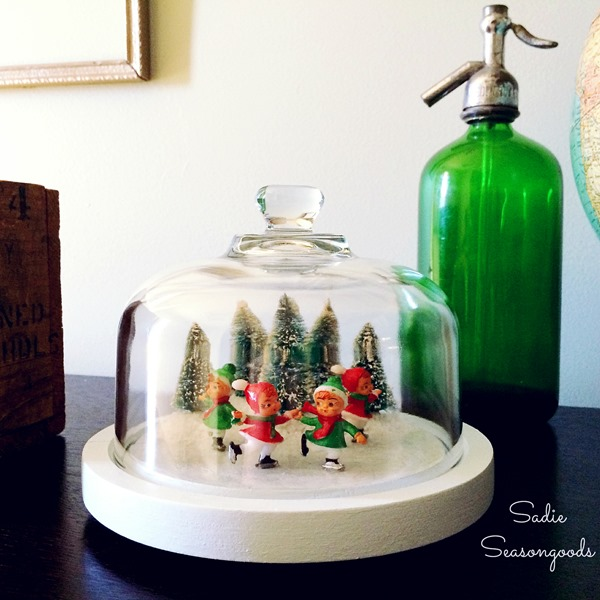 Sadie_Seasongoods_thrifted_cheese_board_dome_vintage_ice_skating_frozen_pond_Christmas_craft_DIY_project