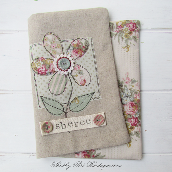 Shabby Art Boutique - fabric covered diary tutorial 4