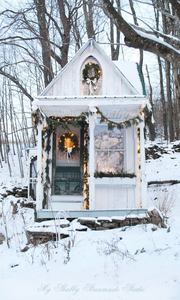 The tiny house built by Sandy Foster as featured on Shabbilicious Sunday. Click now to visit Shabby Art Boutique for more beautiful image sof Sandy's home and to get yoru free copy of the  magazine.