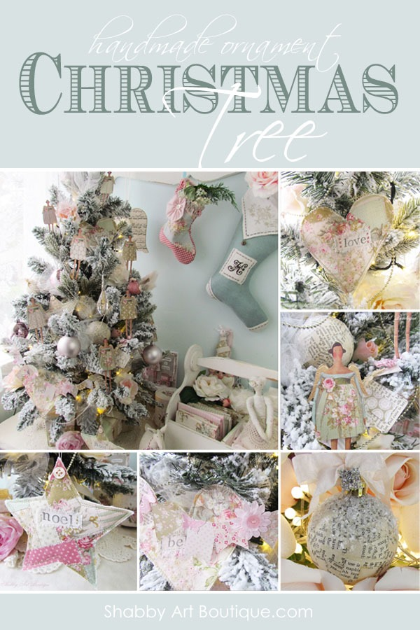4 tutorials for making shabby handmade Christmas ornaments by Shabby art Boutique