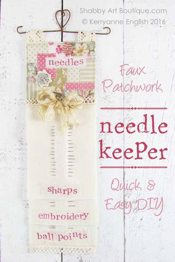 DIY faux patchwork needle keeper - Shabby Art Boutique