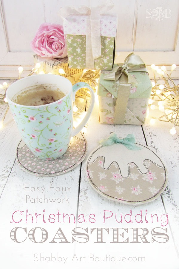 Easy Faux Patchwork Christmas Pudding Coasters Tutorial by Shabby Art Boutique