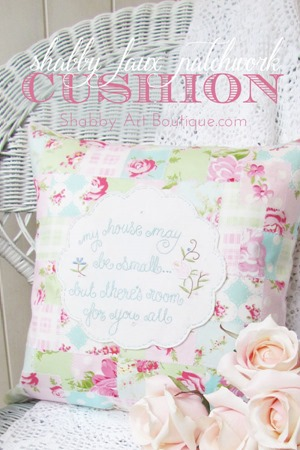 How to make a shabby faux patchwork cushion by Shabby Art Boutique