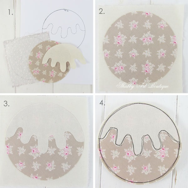 How to make faux patchwork Christmas pudding coasters - Shabby Art Boutique