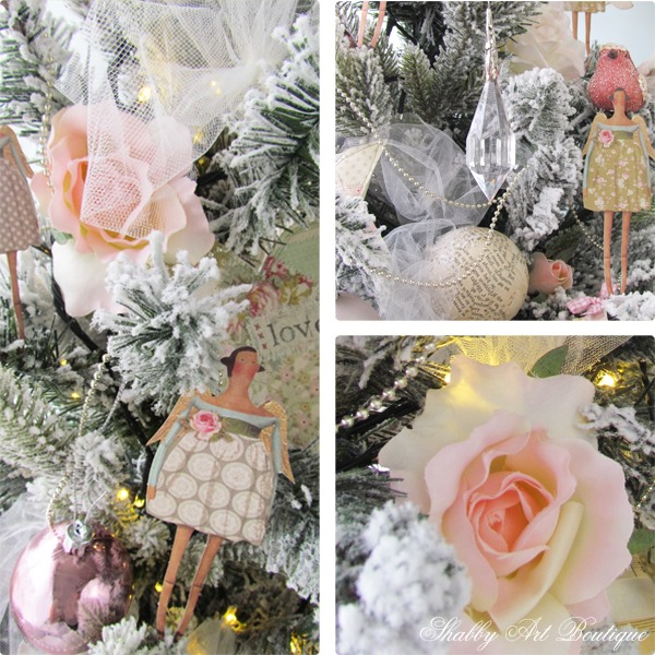 The Handmade Christmas Tree - roses and tulle - Shabby Art Boutique