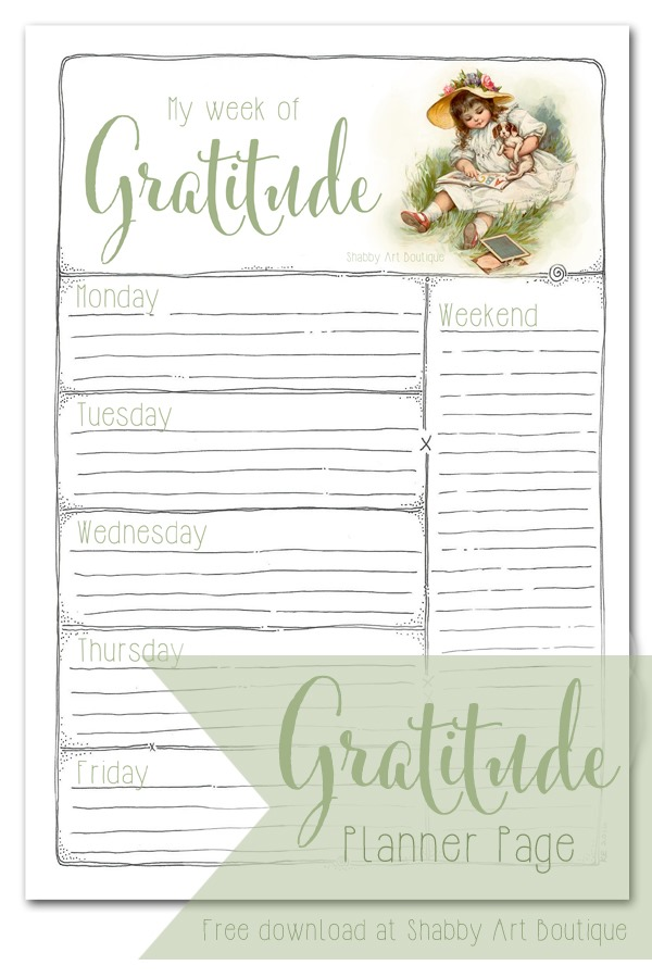 Download this free Gratitude Planner page from Shabby Art Boutique