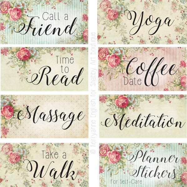 Free printable planner stickers for incorporating Self-Care by Shabby Art Boutique