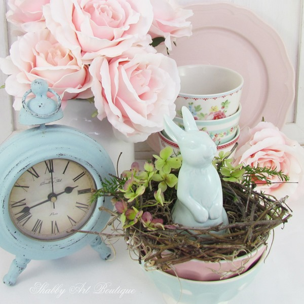 Adding Easter and spring elements to your vignettes by Shabby Art Boutique