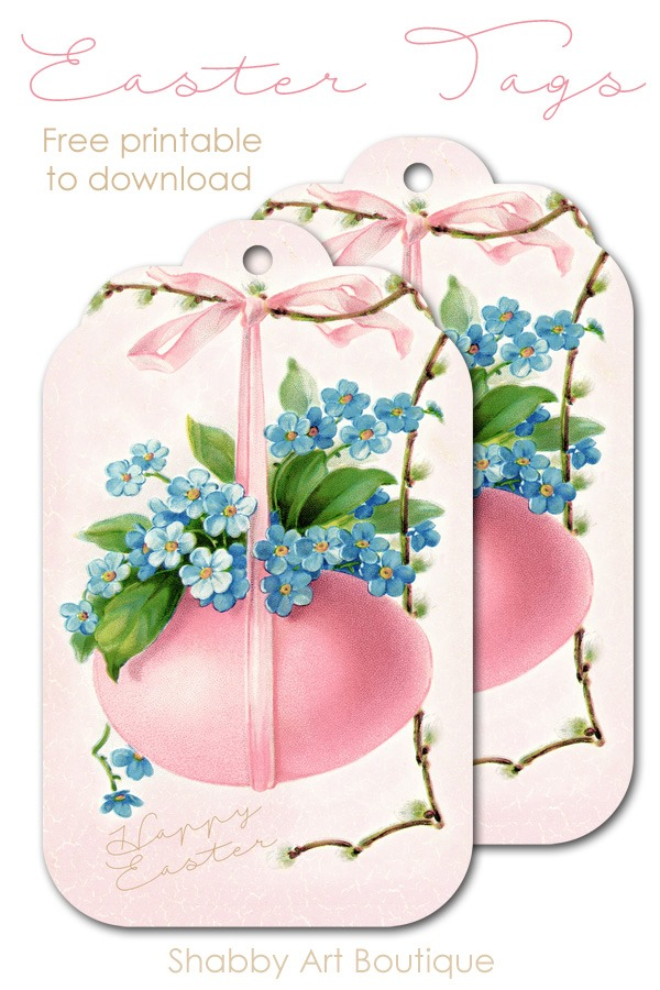 Free Easter Tag printables to download from Shabby Art Boutique