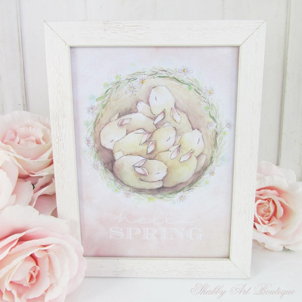 Free printable Spring watercolour art for Shabby Art Boutique