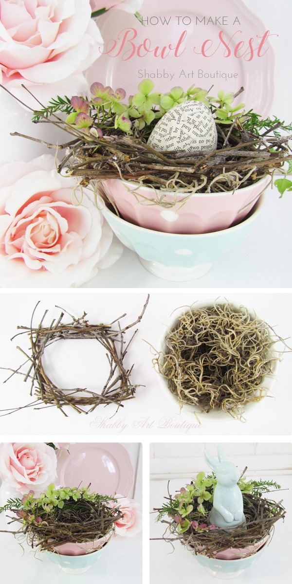 How to make a bowl nest for spring by Shabby Art Boutique