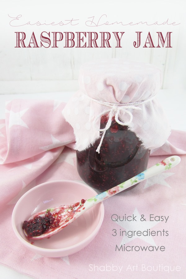 Easiest Homemade Raspberry Jam - just 3 ingredients - quick and easy - Shabby Art Boutique