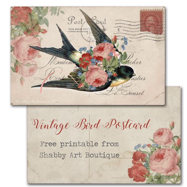 Free Vintage Bird Postcard Printable from Shabby Art Boutique