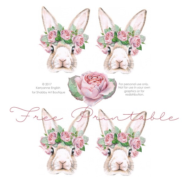 Free printable shabby bunnies by Shabby Art Boutique