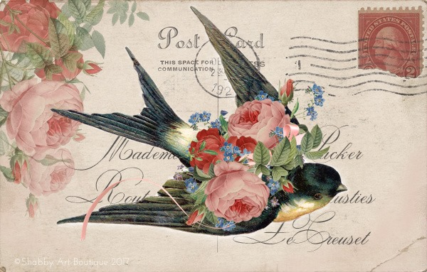 Free printable vintage postcard from Shabby Art Boutique