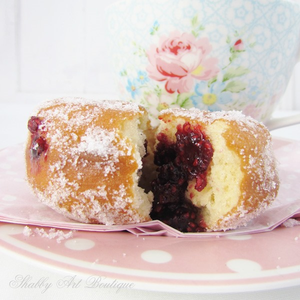 Homemade Raspberry Jam Donuts by Shabby Art Boutique