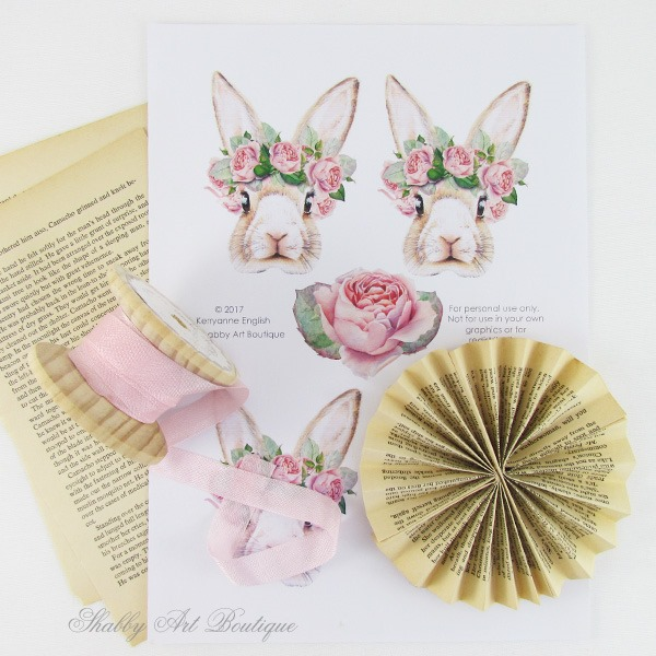 Supplies for the paper bunny tag by Shabby Art Boutique