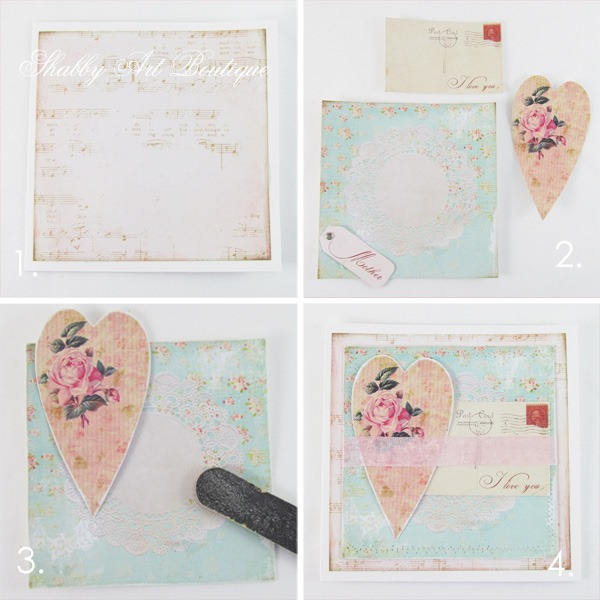 Tutorial for handmade Mothers Day card using free printables from Shabby Art Boutique