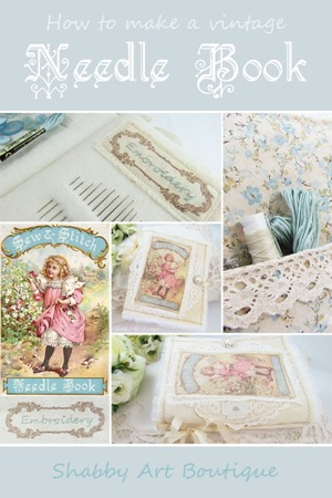 Vintage Needle Book tutorial and free printable by Shabby Art Boutique