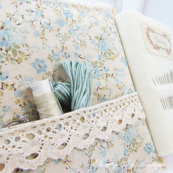 Vintage Sewing Needle Book - inside cover - by Shabby Art Boutique