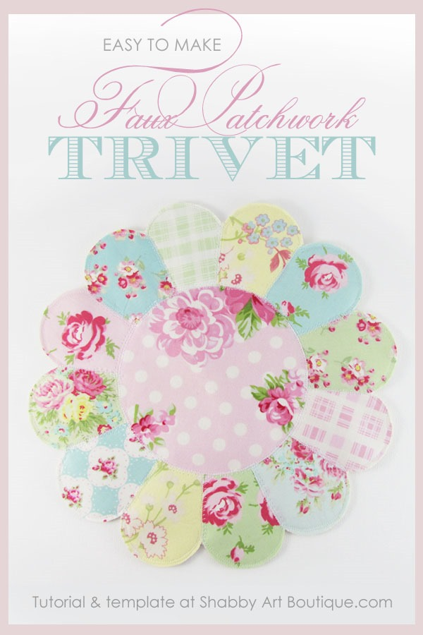 Easy to make faux patchwork Trivet by Shabby Art Boutique
