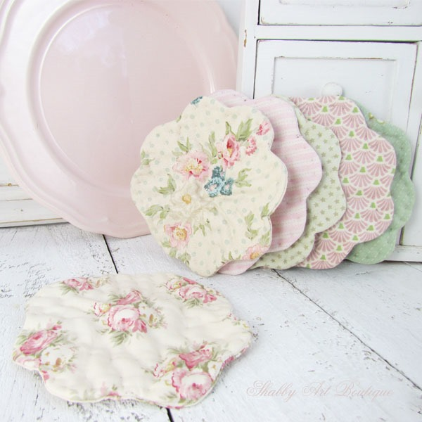 Sweet fabric coasters made by Shabby Art Boutique