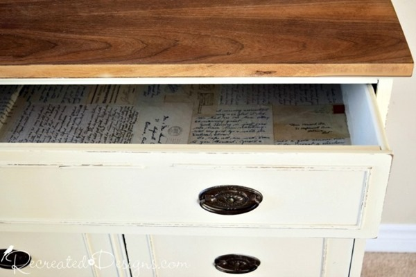 vintage-buffet-salvaged-drawer-lined-old-family-letters-stamps-envelopes-what-to-do-with-preserve-recreateddesigns