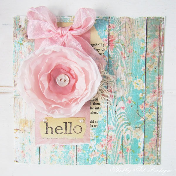Handmade HELLO card by Shabby Art Boutique