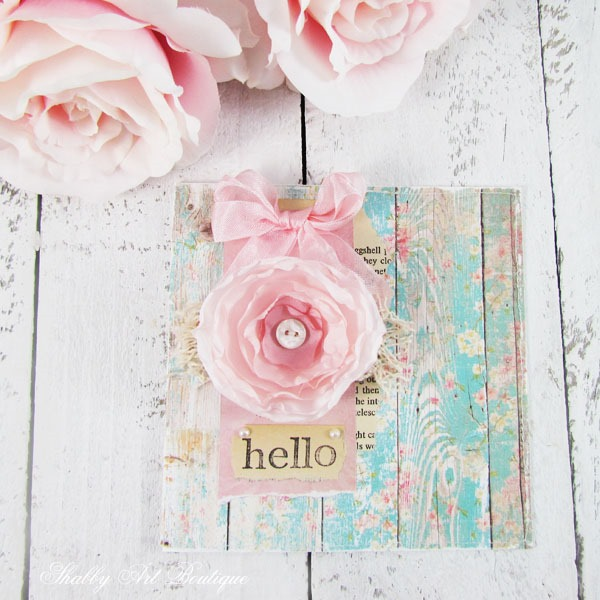 Tutorial for making handmade silk flower cards by Shabby Art Boutique