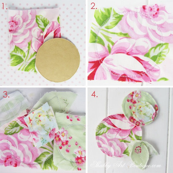 how to make these sweet scrappy fabric flower embellishments at Shabby Art Boutique