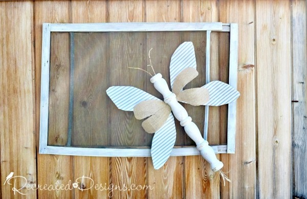 rustic-bug-reclaimed-items-summer-decor-wallpaper-wire-spindle-burlap-dragonfly-butterfly-recreateddesigns