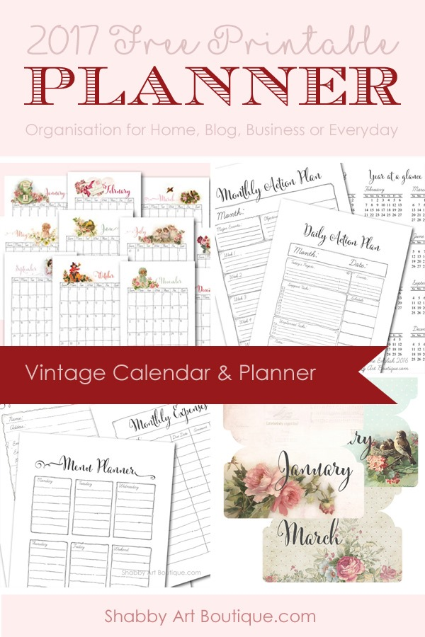 Free printable 2017 Calendar and Planner by Shabby Art Boutique