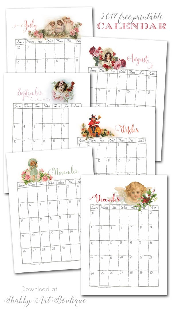 Free printable 2017 Vintage Calendar pages from Shabby Art Boutique