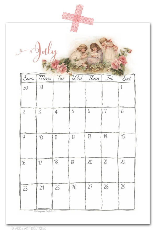 Print your own vintage calendar pages - free download from Shabby Art Boutique