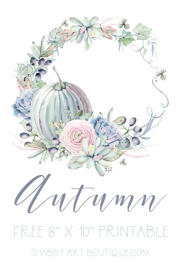 Free 8 x 10 watercolor printable for Autumn-Fall from Shabby Art Boutique