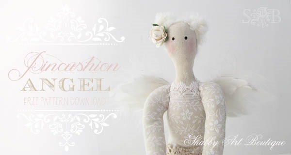 Free E-pattern for Pincushion Angel by Shabby Art Boutique