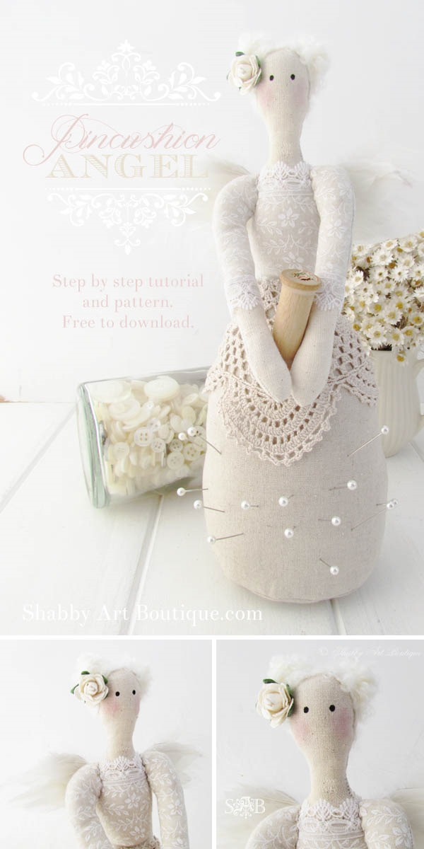 Pincushion Angel Tutorial and Pattern by Shabby Art Boutique