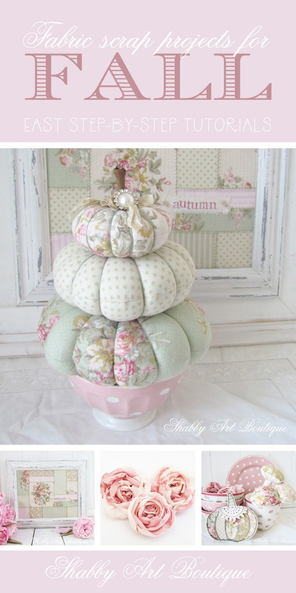 Fabric scrap projects for Fall by Shabby Art Boutique