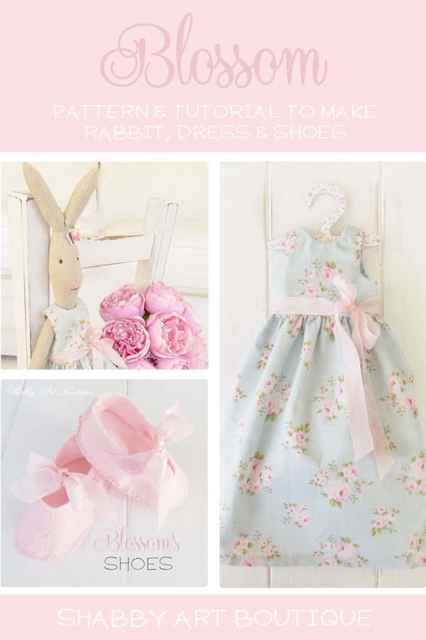 Get the patterns and tutorials to make this sweet Maileg look-a-like Rabbit with dress and shoes from Shabby Art Boutique