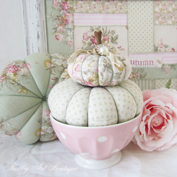 How to make fall pumpkins from fabric scraps at Shabby Art Boutique