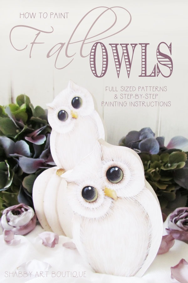 How to paint fall owls - full tutorial and pattern by Shabby Art Boutique
