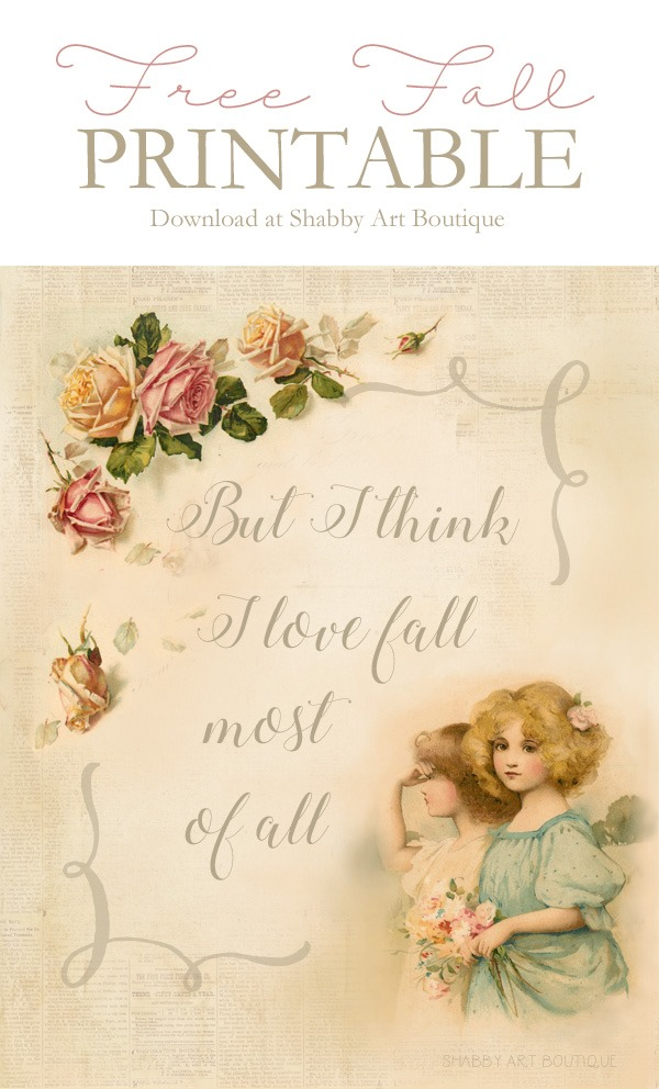 Download this free fall vintage printable at Shabby Art Boutique