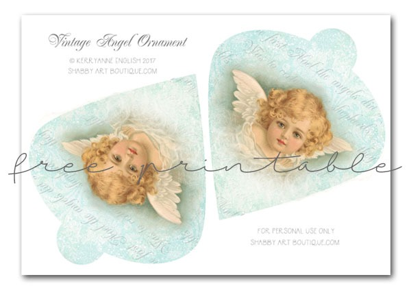 Free printable Vintage Christmas Angel graphic to download from Shabby Art Boutique