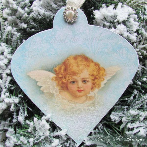 Handmade Vintage Angel Ornament for Christmas by Shabby Art Boutique - Handmade Vintage Angel Christmas Ornament - Shabby Art Boutique